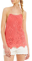 Chelsea & Violet Scalloped Embroidered Lace Halter Top