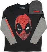 Fashion Marvel Comics Deadpool Long Sleeve Graphic T-Shirt & Beanie Combo - 2XL