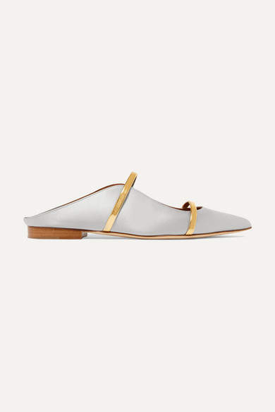 Malone Souliers Maureen Metallic Leather-trimmed Satin Point-toe Flats - Light gray