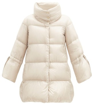 Herno Funnel-neck Cropped-sleeve Quilted Down Jacket - Cream