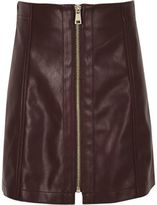 River Island Girls dark purple leather look zip mini skirt