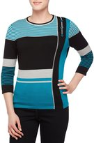 Allison Daley 3/4 Sleeve Colorblock Pullover