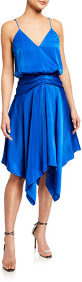 Aidan Mattox V-Neck Draped Charmeuse Handkerchief Dress