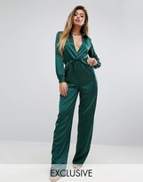 PrettyLittleThing Plunge Neck Satin Jumpsuit