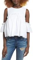J.o.a. Women's Linen Cold Shoulder Top