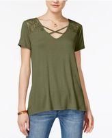 Hippie Rose Juniors' Crisscross Lace Inset T-Shirt