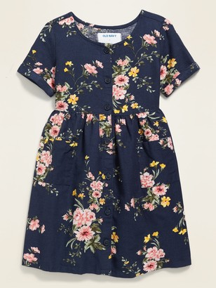 Old Navy Fit & Flare Button-Front Floral Dress for Toddler Girls