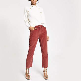 River Island Rust corduroy straight leg denim jeans