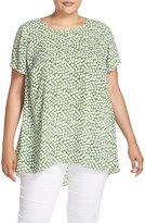 Vince Camuto Plus Size Women's 'Falling Cubes' Print Short Sleeve High/low Blouse