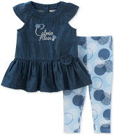 Calvin Klein 2-Pc. Denim Peplum Top & Printed Leggings Set, Baby Girls (0-24 months)