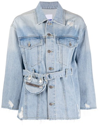 Sjyp Pocket Belted Denim Jacket