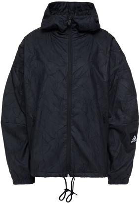 adidas Mesh-trimmed Crinkled-shell Hooded Jacket