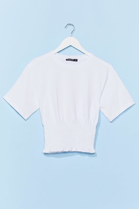 Nasty Gal Womens Shirred All About It Cropped Tee - White