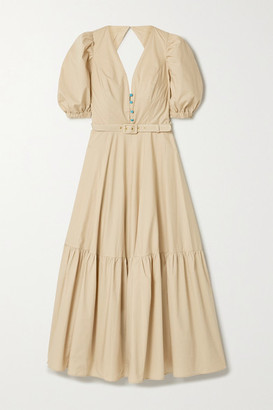 Nicholas Rebecca Belted Cutout Cotton-poplin Maxi Dress - Beige