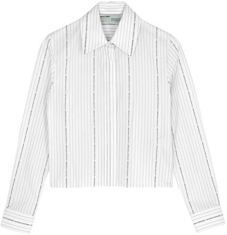 Off-White Striped cropped poplin shirt