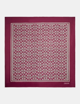 Coach Vintage Signature Print Silk Square Scarf