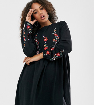 Asos Tall ASOS DESIGN Tall long sleeve embroidered smock mini dress