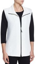 Caroline Rose Diamond-Quilted Zip-Front Vest, White, Petite