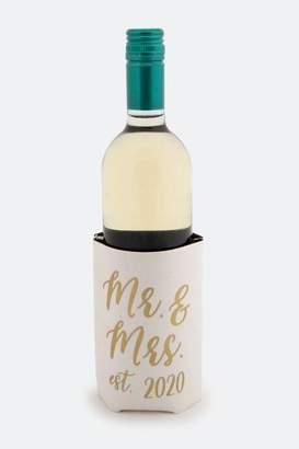francesca's Mr. & Mrs. est. 2020 Wine Bottle Koozie - White