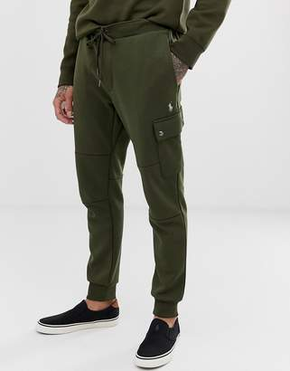 Polo Ralph Lauren player logo double tech cuffed cargo joggers in olive green