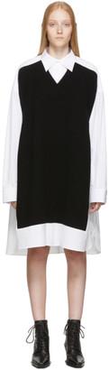 Maison Margiela White and Navy Cotton Poplin Dress