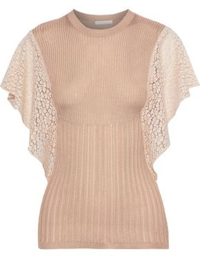 Chloé Guipure Lace-paneled Open And Ribbed-knit Top