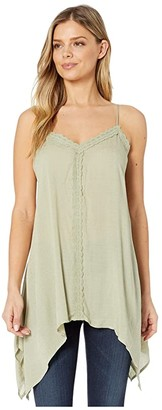 Miss Me Lace Trim Tunic (Sage Green) Women's Clothing
