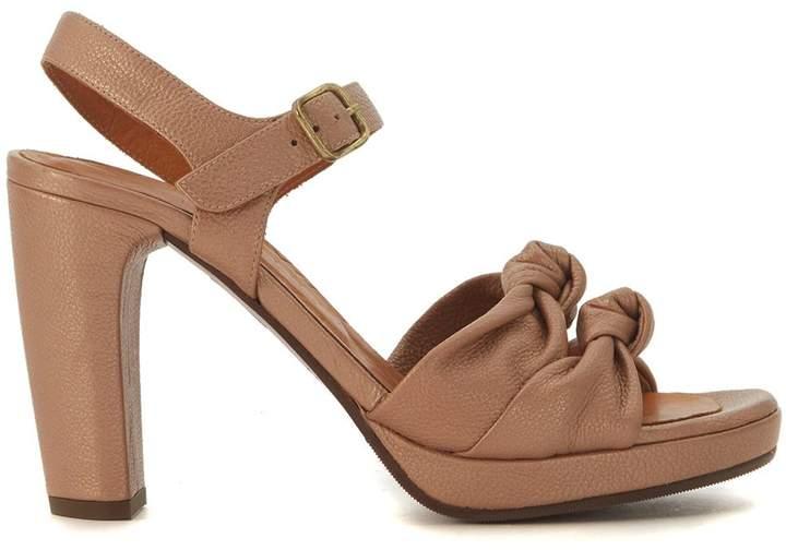 Chie Mihara Champan Nude Leather Heel Sandal