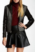 Cole Haan Genuine Leather & Wool Blend Jacket