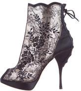 Christian Dior Mesh & Lace Peep-Toe Booties
