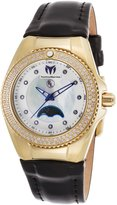 Technomarine Tm-416023 Women's Eva Longoria Diamond Black Gen. Leather Mop Dial Gold-Tone Ss Watch