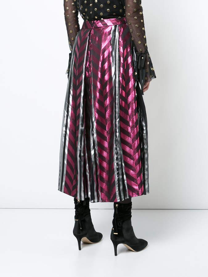 Monique Lhuillier metallic midi skirt