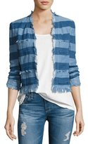 AG Adriano Goldschmied Capucine Striped Open-Front Denim Jacket, Blue
