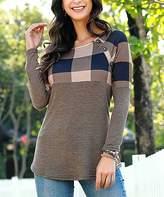 Buffalo David Bitton Reborn Collection Women's Tunics mocca - Mocha Plaid Button-Accent Tunic - Women & Plus