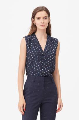 Rebecca Taylor Tailored Clover Print Dot Jacquard Top