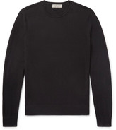 Burberry Elbow-patch Cashmere And Cotton-blend Sweater - Black