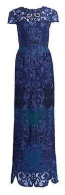 Marchesa Women's Scroll Lace Gown - Cobalt - Size 4