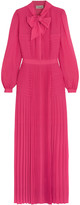 Temperley London Pussy-bow pleated chiffon gown