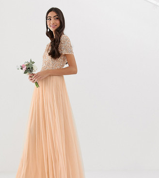 Maya Tall Bridesmaid V neck maxi dress with delicate sequin in soft peach