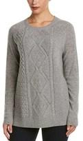 Sofia Cashmere sofiacashmere Sofiacashmere Cable Textured Crewneck Cashmere Sweater.