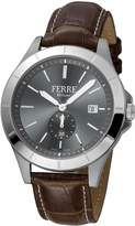 Ferré Milano Men's Anthracite Dial with Dark Leather Calfskin Band Watch.
