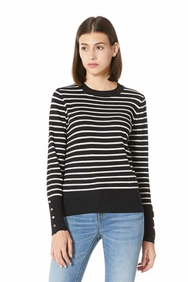 Plumberry Women's Casual Long Sleeve Striped Tops Lightweight Pullover Boxy Knit Crewneck Solid Color Sweater (Large