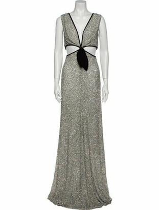 MARKARIAN V-Neck Long Dress Silver