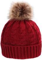 Simplicity Men / Women's Winter Hand Knit Faux Fur Pompoms Beanie Hat Burgundy