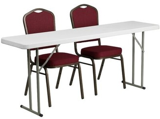 "Flash Furniture 72"" Rectangle Folding Table Set with 2 Chairs Flash Furniture"
