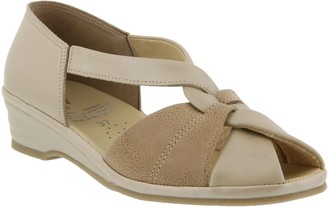 Spring Step Leather Peep-Toe Sandals - Jasna