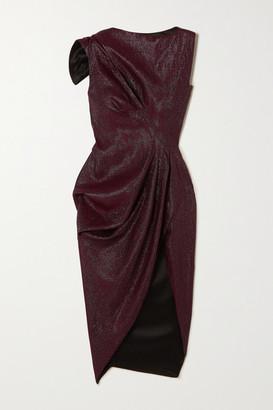 Maticevski Connector Gathered Woven Dress - Burgundy