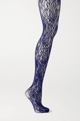 Dries Van Noten Floral Stretch-lace Tights - Blue