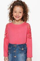 Boohoo Girls Lace Sleeve Top coral