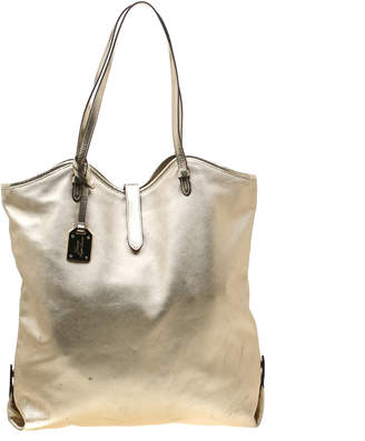 Ralph Lauren Ralph Metallic Silver Leather Shopper Tote